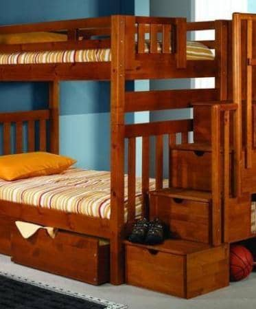 Elliot Honey Bunk Bed with Stairs and Shelves Custom Kids Furniture