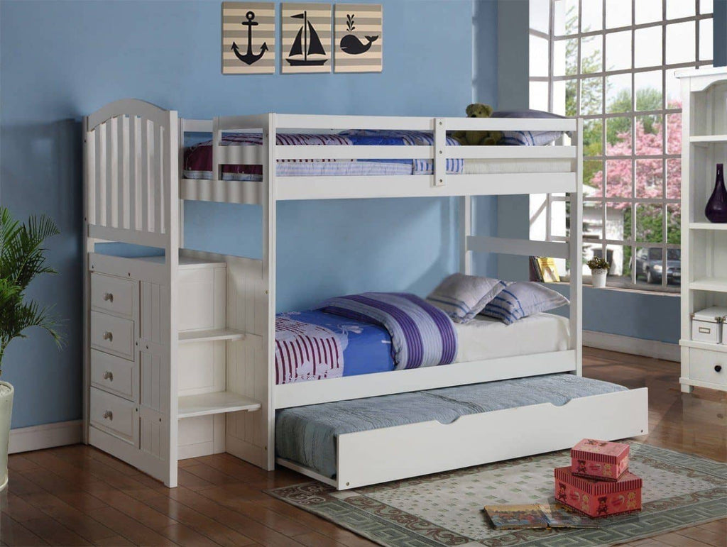 Emily White Twin over Full Bunk Bed with Stairs & Trundle Custom Kids Furniture