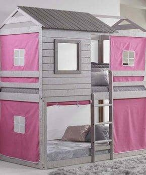 Emma Gray Playhouse Bunk Bed with Pink Tent Custom Kids Furniture