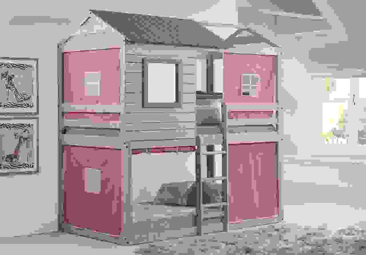Emma Gray Playhouse Bunk Bed With Pink Tent