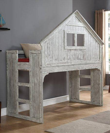 Ethan Distressed Tree House Loft Bed Custom Kids Furniture