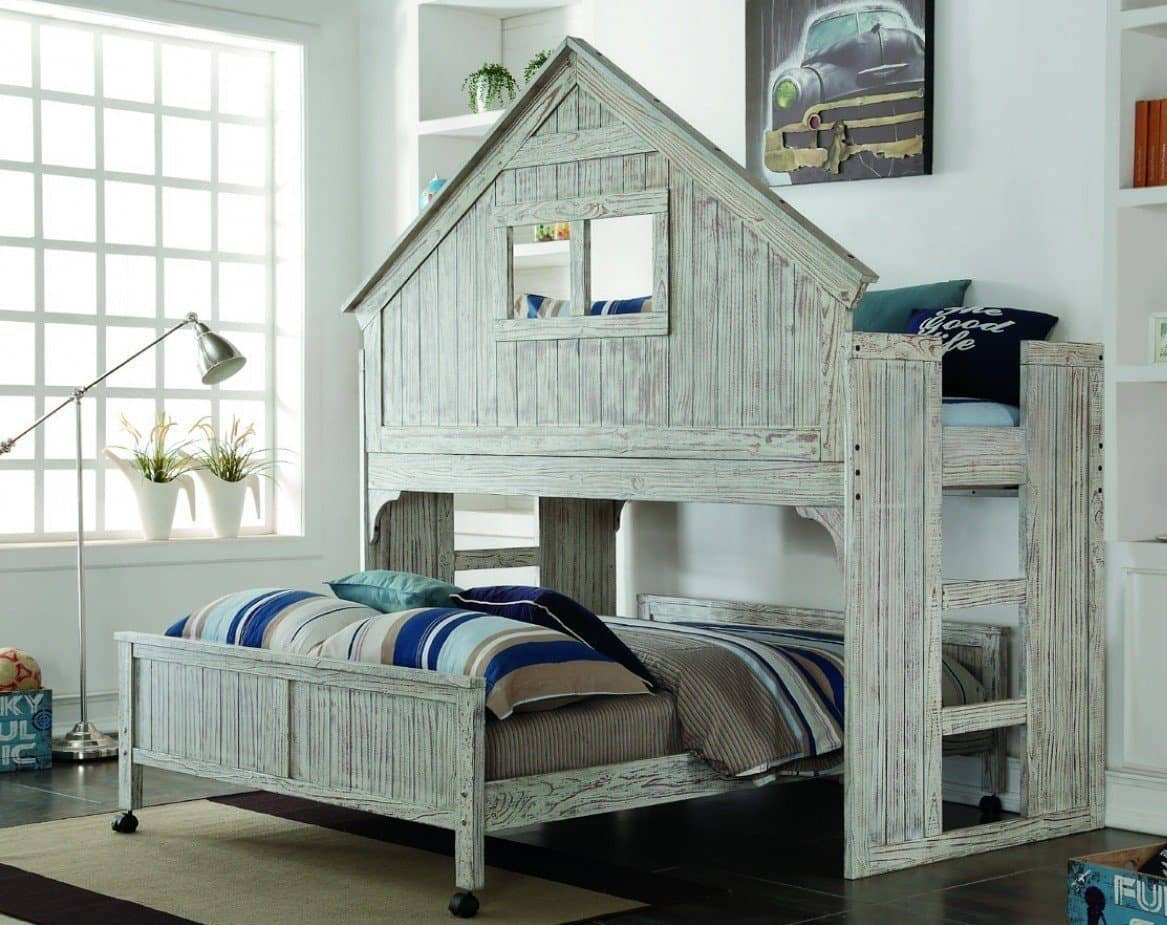 Picture of: Ethan Distressed Twin Over Full Tree House Bunk Bed