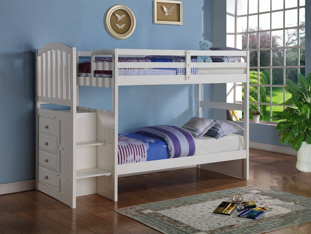 Eva White Twin Bunk Bed with Stairs Custom Kids Furniture
