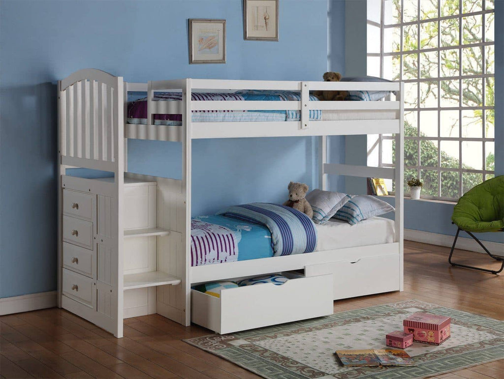 Eva White Twin Bunk Bed with Stairs and Storage Custom Kids Furniture
