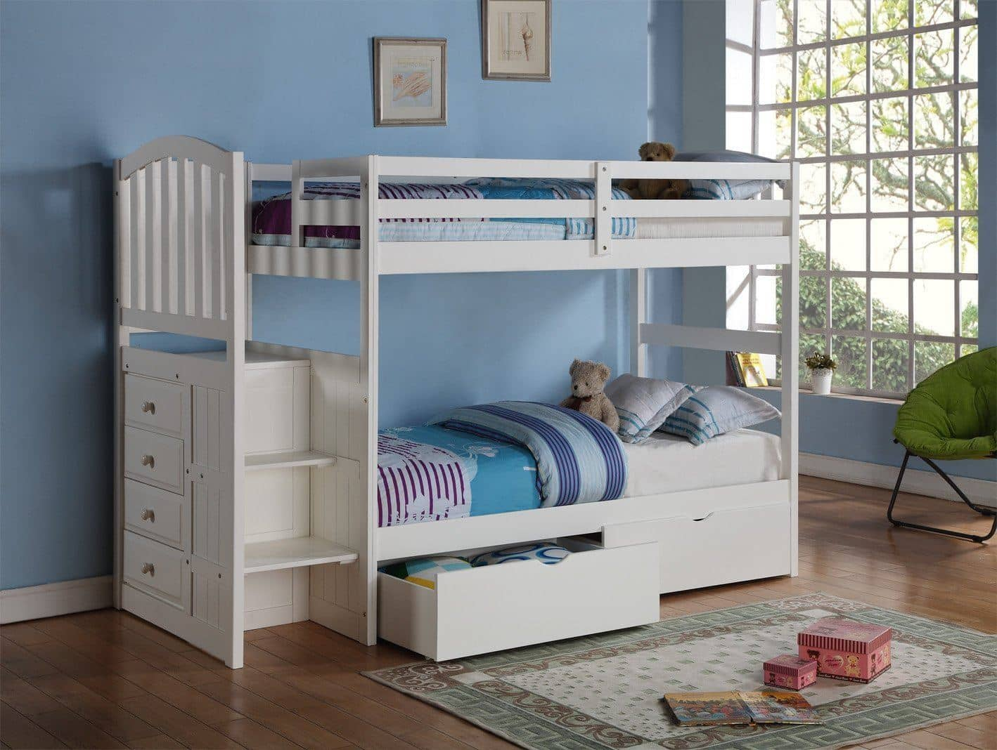 Picture of: Eva White Twin Bunk Bed With Stairs And Storage