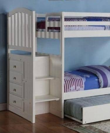 Eva White Twin Bunk Bed with Trundle Custom Kids Furniture
