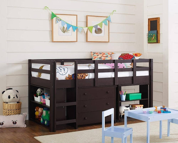 Gabriel Espresso Loft Bed with Desk and Dresser in One Custom Kids Furniture