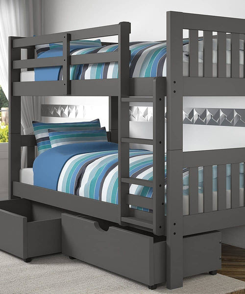 Gavin Gray Bunk Bed with Storage Custom Kids Furniture