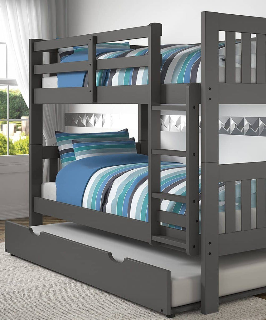 Gavin Gray Bunk Bed with Trundle Custom Kids Furniture