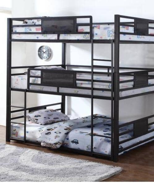 Gia Metal Twin or Full Triple Bunk Bed Custom Kids Furniture