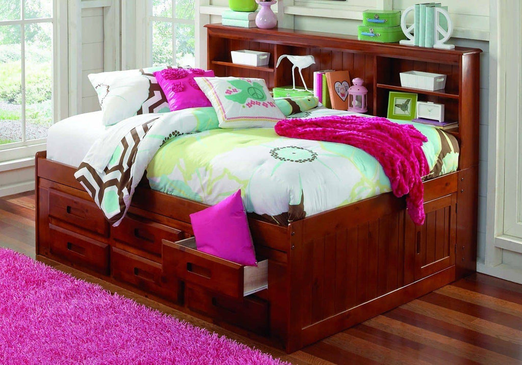 Grace Full Daybed with Bookcase Headboard, Trundle, and Three Storage Drawers Custom Kids Furniture