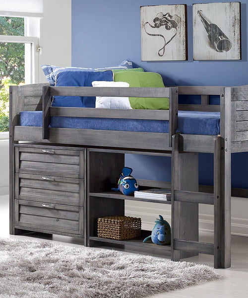 Hailey Grey Modern Loft with Dresser and Bookshelves Custom Kids Furniture