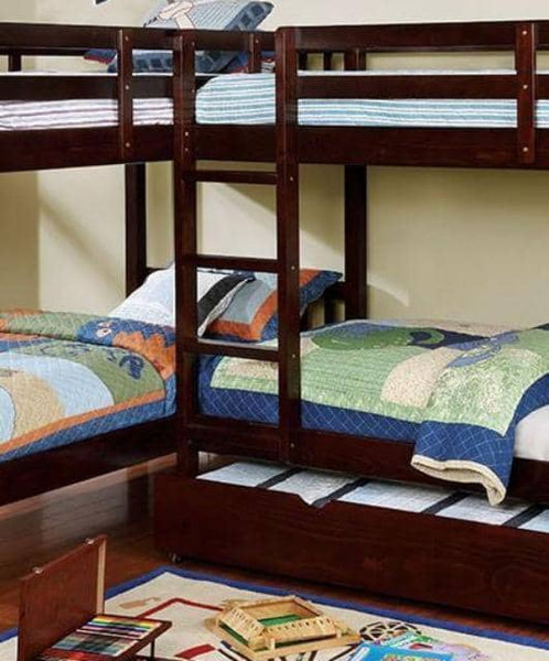 Hannah Cappuccino Corner Quadruple Bunk Bed Custom Kids Furniture