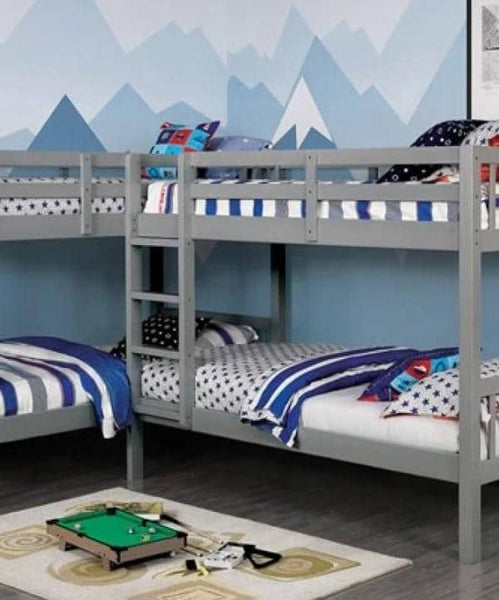 Hannah Grey Corner Quadruple Bunk Bed Custom Kids Furniture
