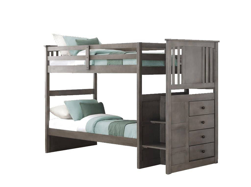 Harrison Grey Twin Bunk Bed with Stairs Custom Kids Furniture