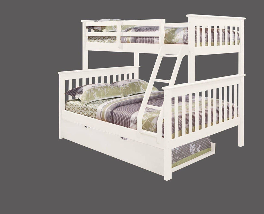 Hazel White Bunk Bed with Trundle Custom Kids Furniture