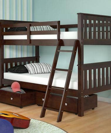 Hunter Twin Cappuccino Bunk Bed with Storage Custom Kids Furniture