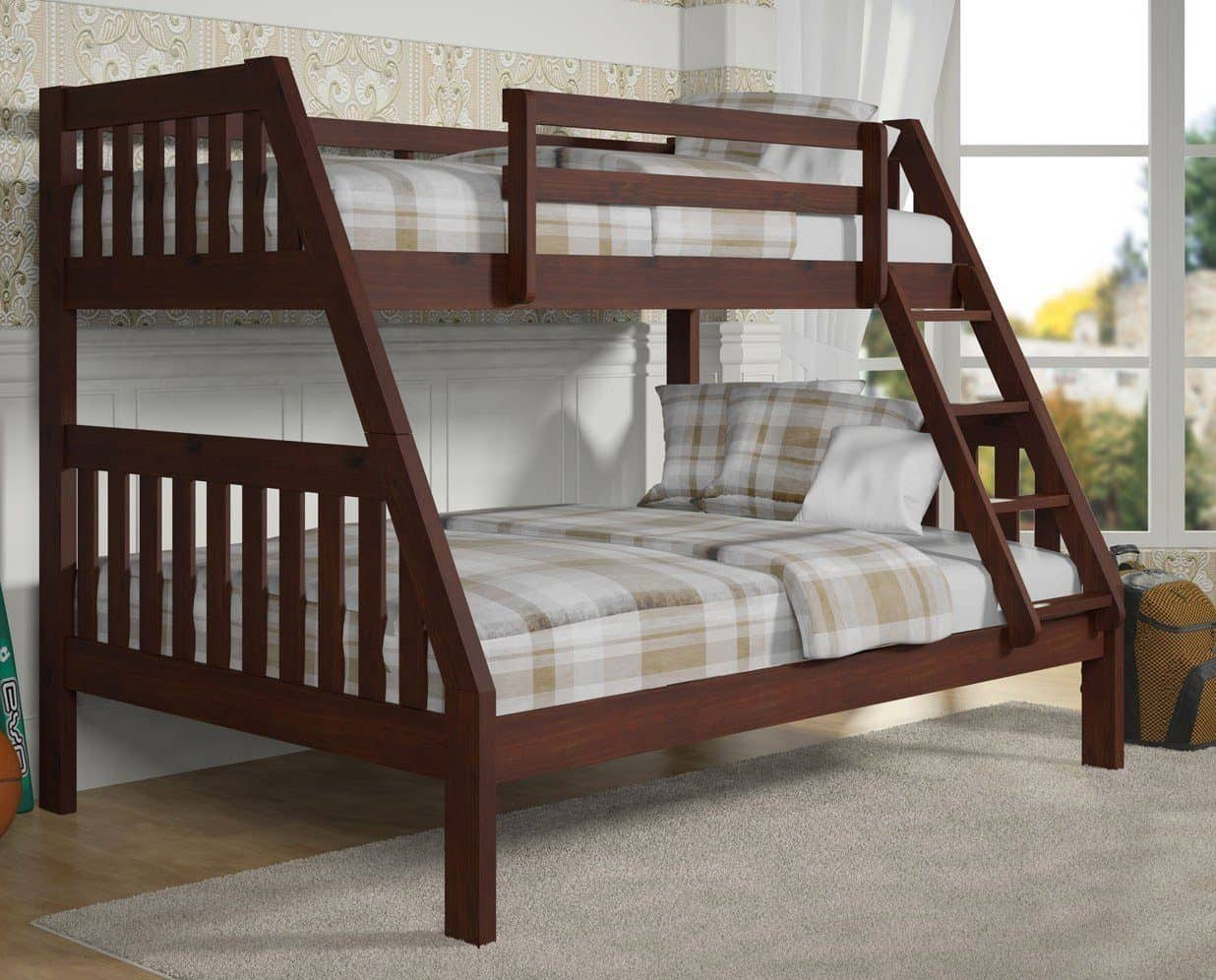 Picture of: Ian Modern Dark Wood Twin Over Full Bunk Bed