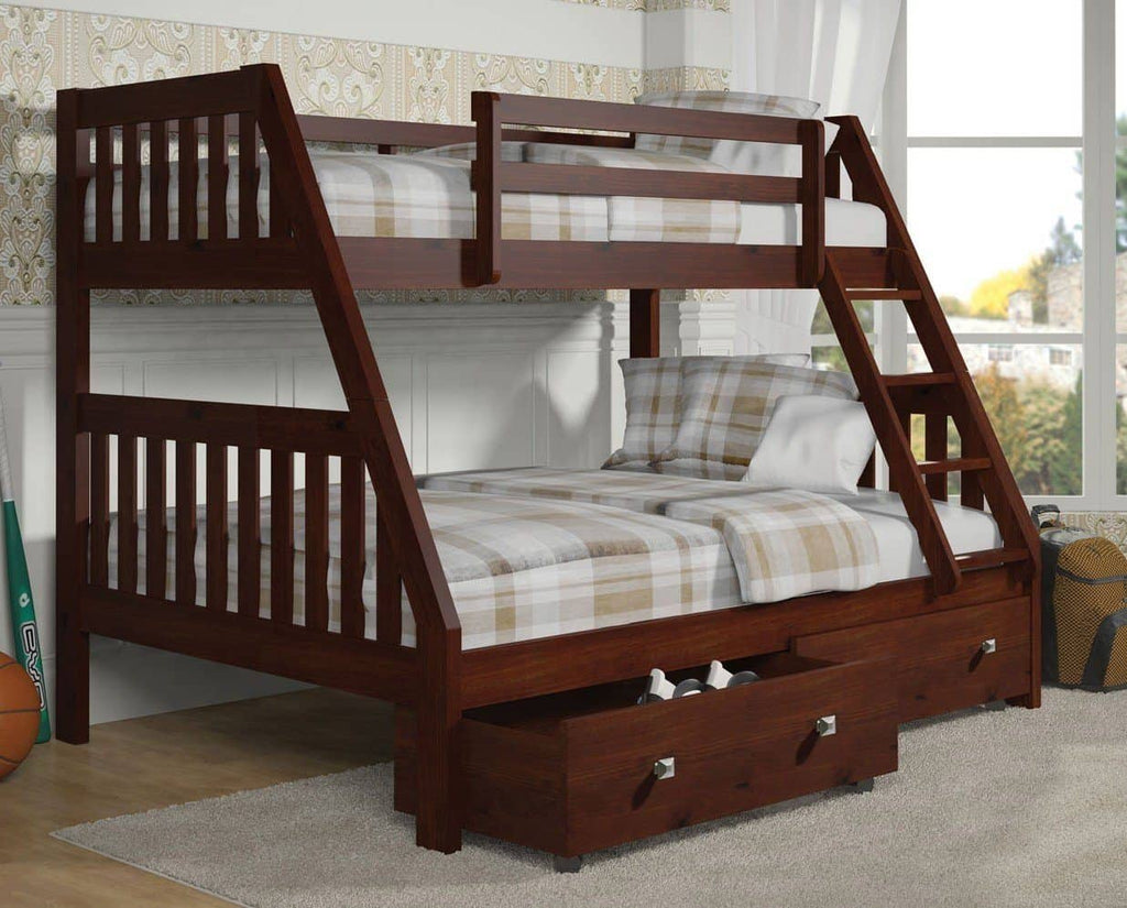 Ian Modern Dark Wood Twin over Full Bunk Bed with Storage Custom Kids Furniture