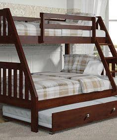 Ian Modern Dark Wood Twin Over Full Bunk Bed With Trundle