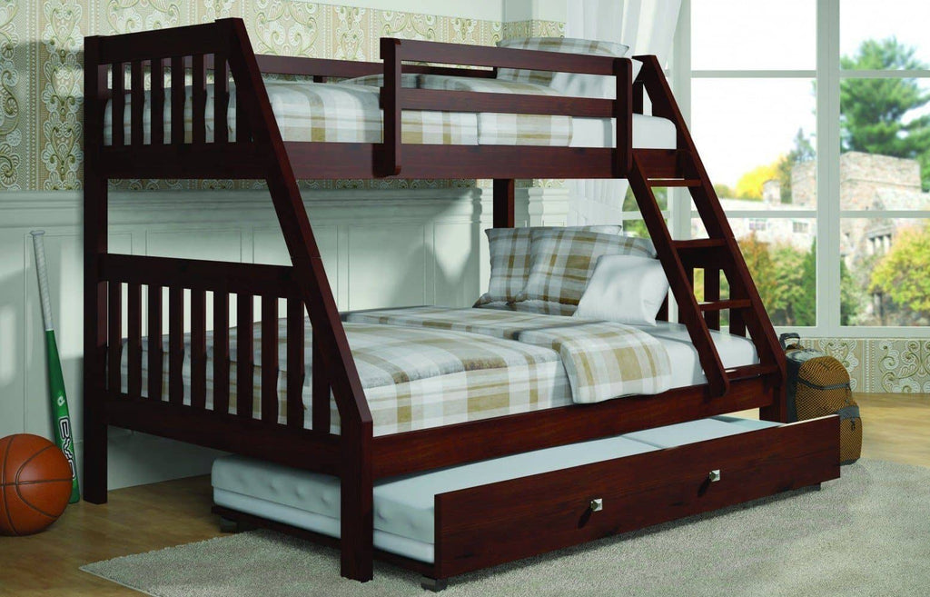 Ian Modern Dark Wood Twin over Full Bunk Bed with Trundle Custom Kids Furniture