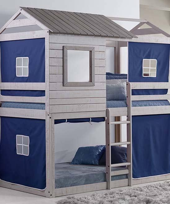 Jackson Fort Bunk Bed with Blue Tent Custom Kids Furniture