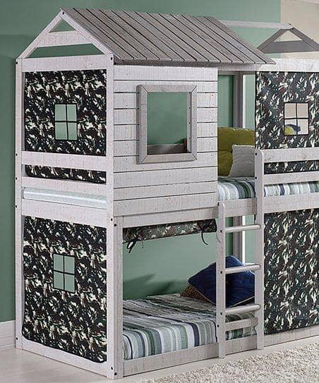 Jackson Fort Bunk Bed with Camo Tent Custom Kids Furniture