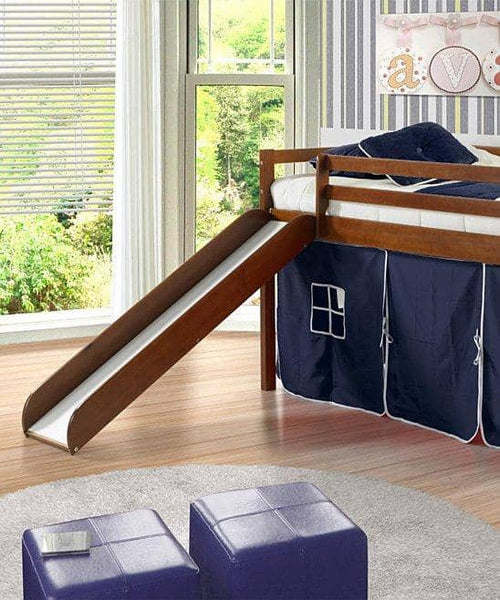 Jason Loft Bed with Slide & Blue Tent Custom Kids Furniture