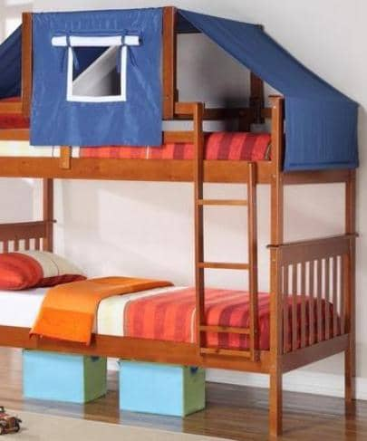 Jayden Boy's Bunk Bed with Blue Tent Custom Kids Furniture