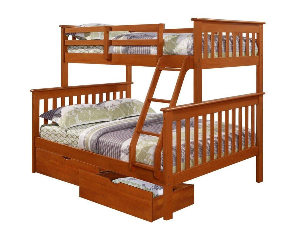 Jayden Espresso Twin over Full Bunk Bed with Storage Custom Kids Furniture