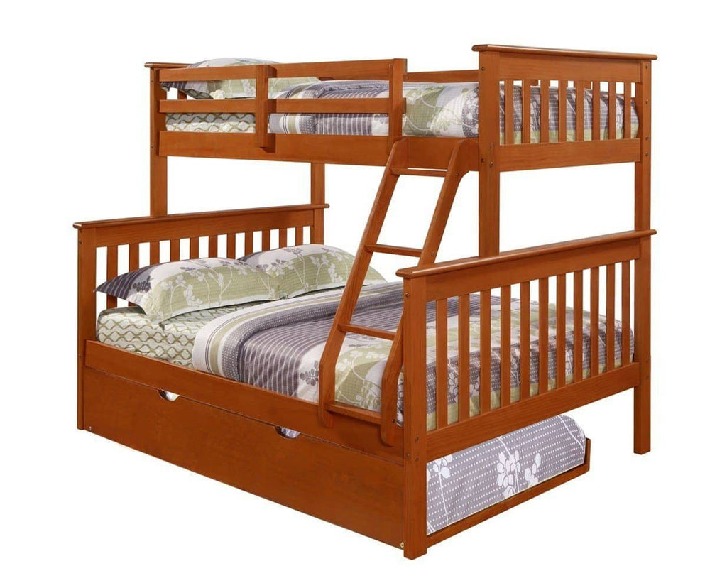 Jayden Espresso Twin over Full Bunk Bed with Trundle Bed Custom Kids Furniture