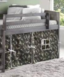 Jordan Gray Twin Loft with Camo Tent Custom Kids Furniture