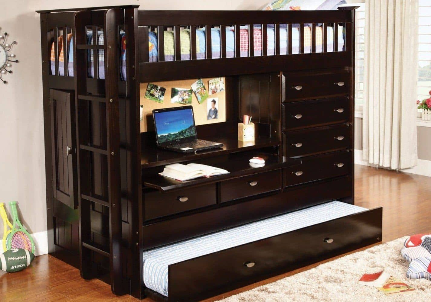 Picture of: Kendall Cappuccino Loft Bed With Desk Dresser Trundle In One