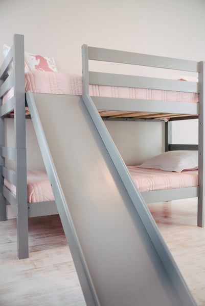 Kinsley Gray Wooden Bunk Bed with Slide Custom Kids Furniture