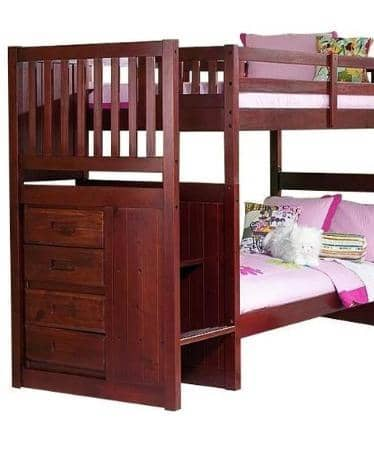 Layla Merlot Bunk Bed with Stairs Custom Kids Furniture