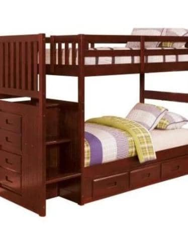 Layla Merlot Bunk Bed with Stairs and Storage Drawers Custom Kids Furniture
