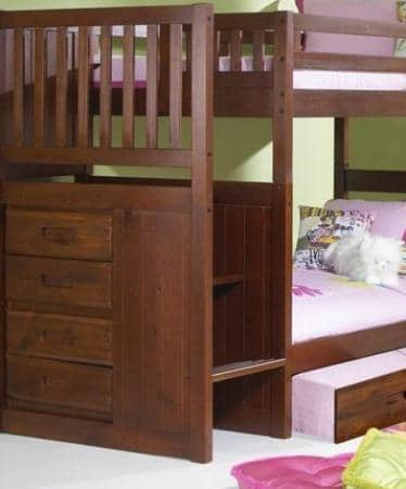 Layla Merlot Bunk Bed with Stairs and Trundle Custom Kids Furniture