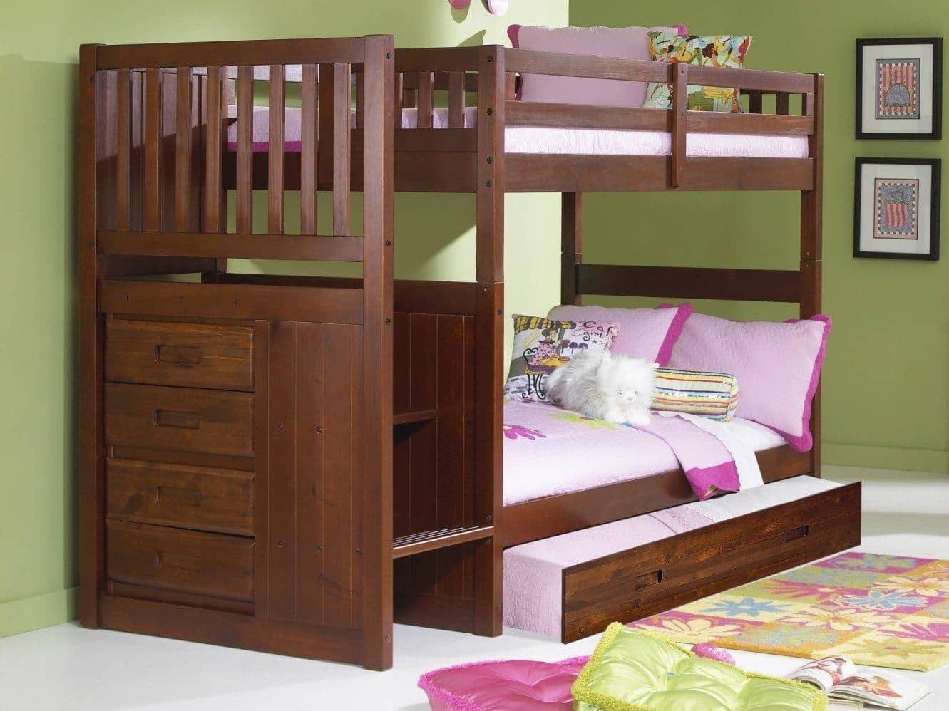 Layla Merlot Bunk Bed With Stairs And Trundle