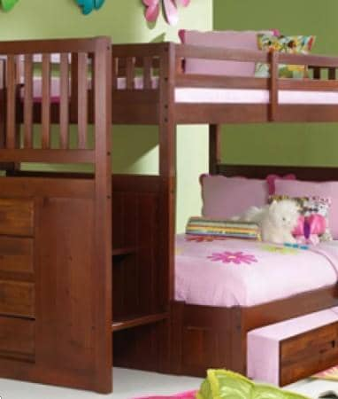 Layla Staircase Bunk Bed with Trundle Custom Kids Furniture