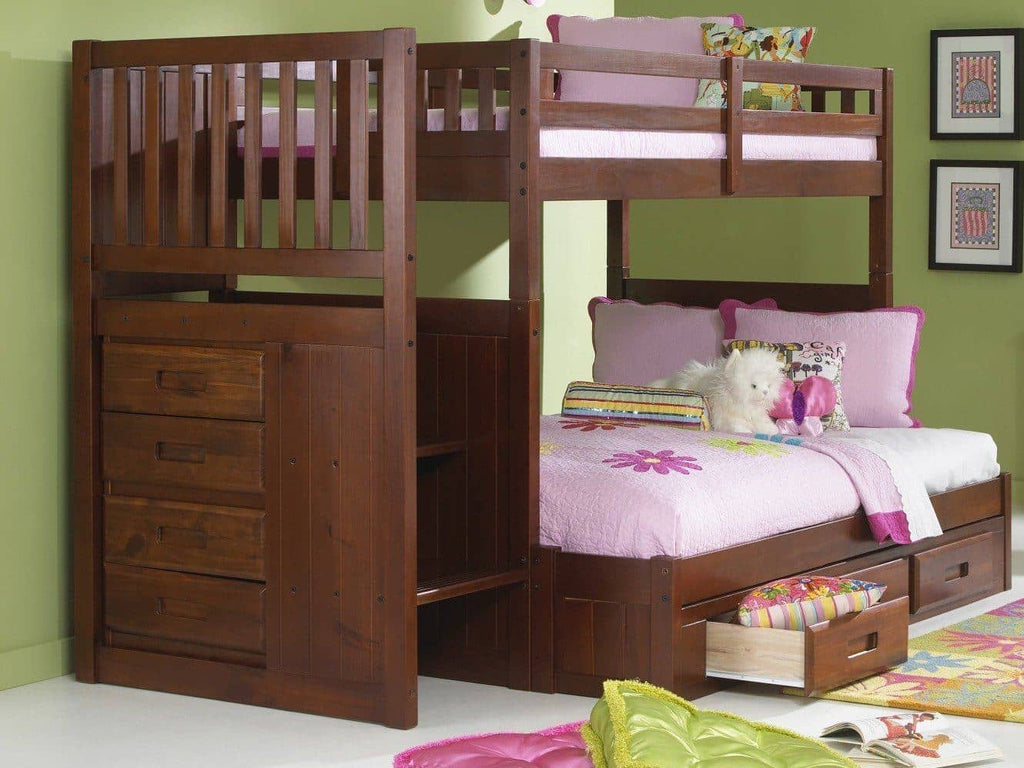 Layla Twin over Full Bunk Bed with Stairs and Storage Custom Kids Furniture