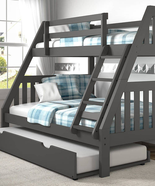 Lila Modern Bunk Bed with Trundle Custom Kids Furniture