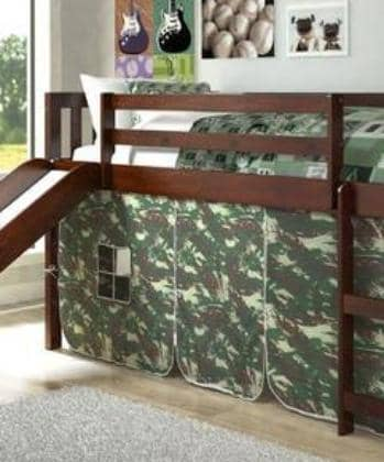Lincoln Low Loft with Slide & Camouflage Tent Custom Kids Furniture