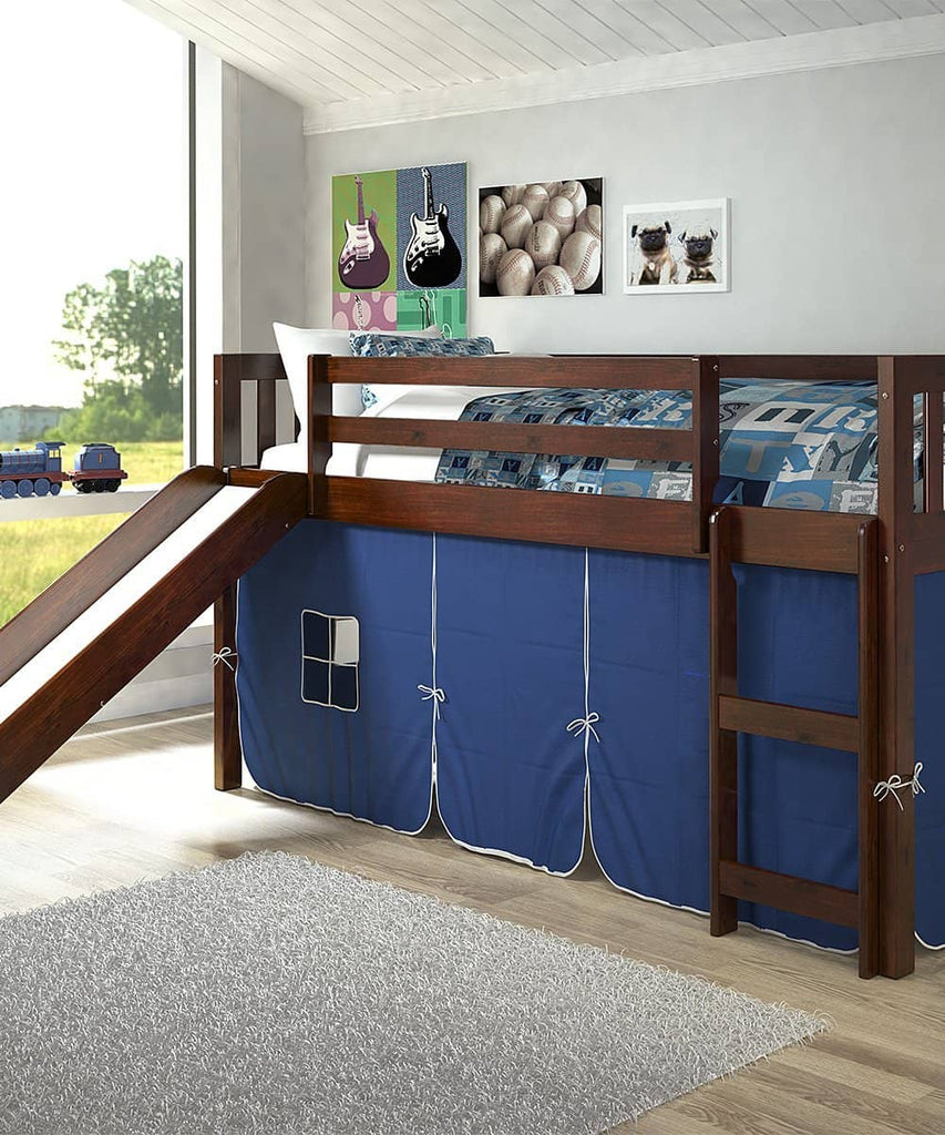 Lucas Low Loft Bed with Slide & Blue Tent Custom Kids Furniture
