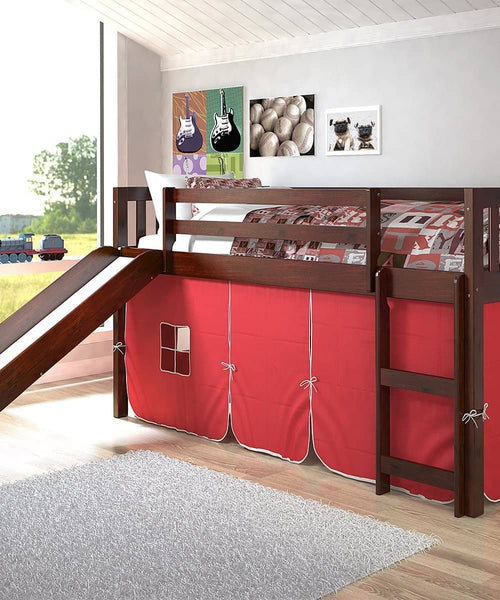 Lucas Low Loft Bed with Slide & Red Tent Custom Kids Furniture