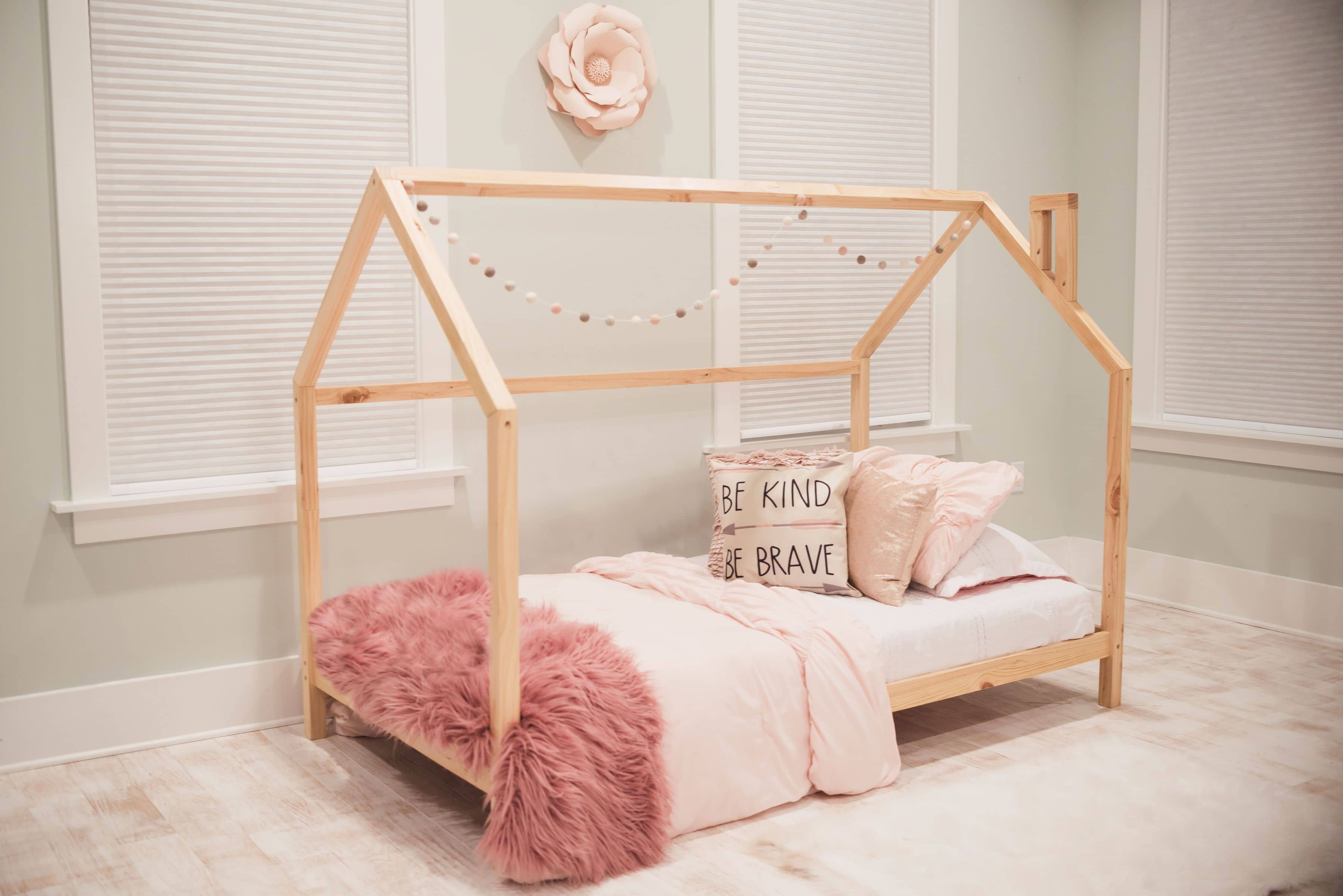Lucy Raised House Frame Floor Bed Custom Kids Furniture