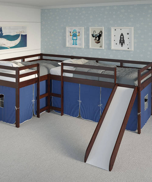 Luke L-Shape Corner Loft Bed with Slide & Blue Tent Custom Kids Furniture
