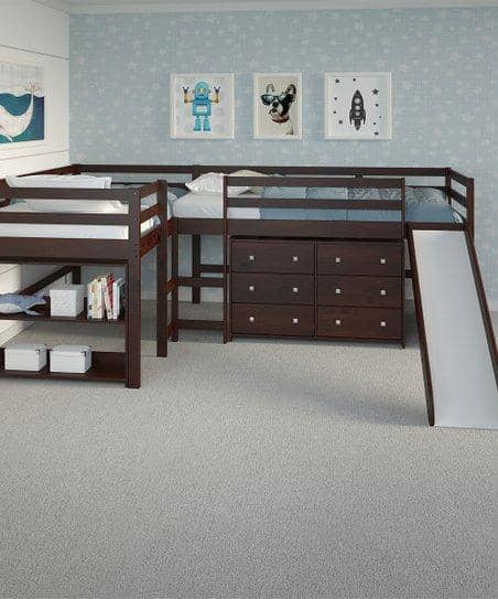 Luke L-Shape Corner Loft Bed with Slide & Dresser Custom Kids Furniture