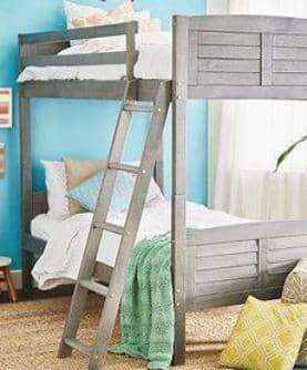 Madison Gray Twin over Twin Bunk Bed Custom Kids Furniture