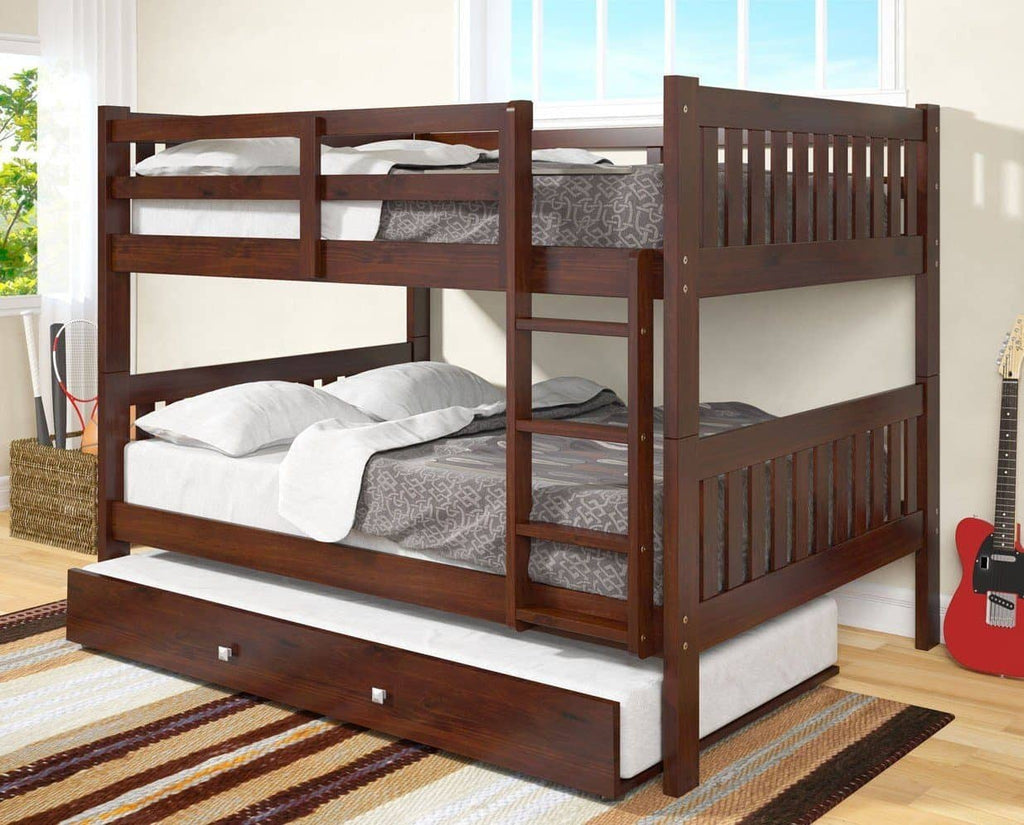 Max Full Size Cappuccino Bunk Bed with Trundle Custom Kids Furniture
