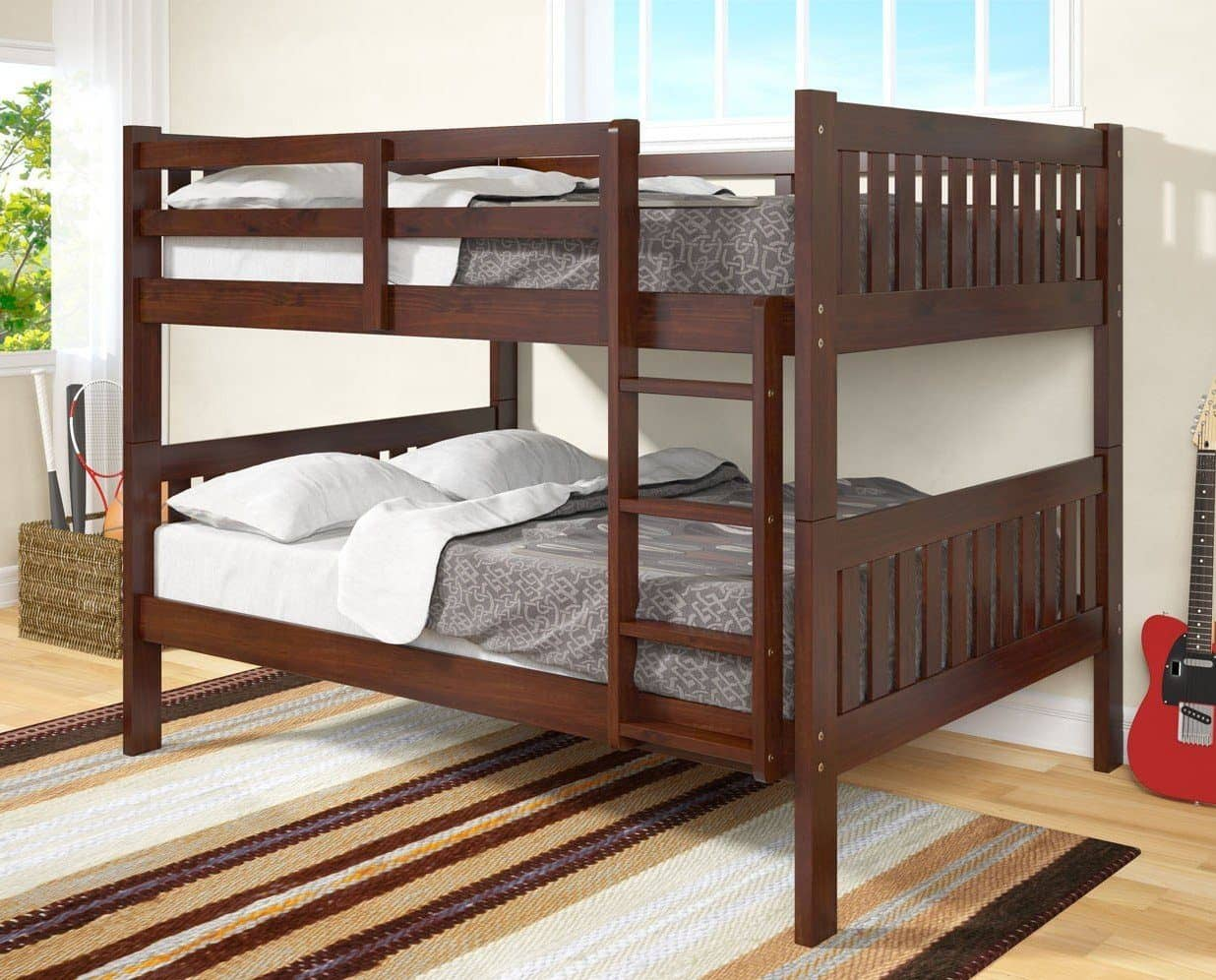 Picture of: Max Full Size Cappuccino Bunk Beds For Kids